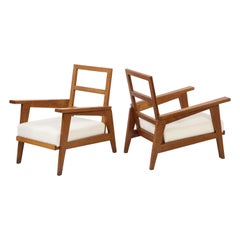 Reconstruction Oak Armchairs, Style of Gabriel, France, 1950s