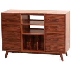 Record Cabinet Open/Close Credenza for Analog Stereo LPs, Vinyl Media Sideboard