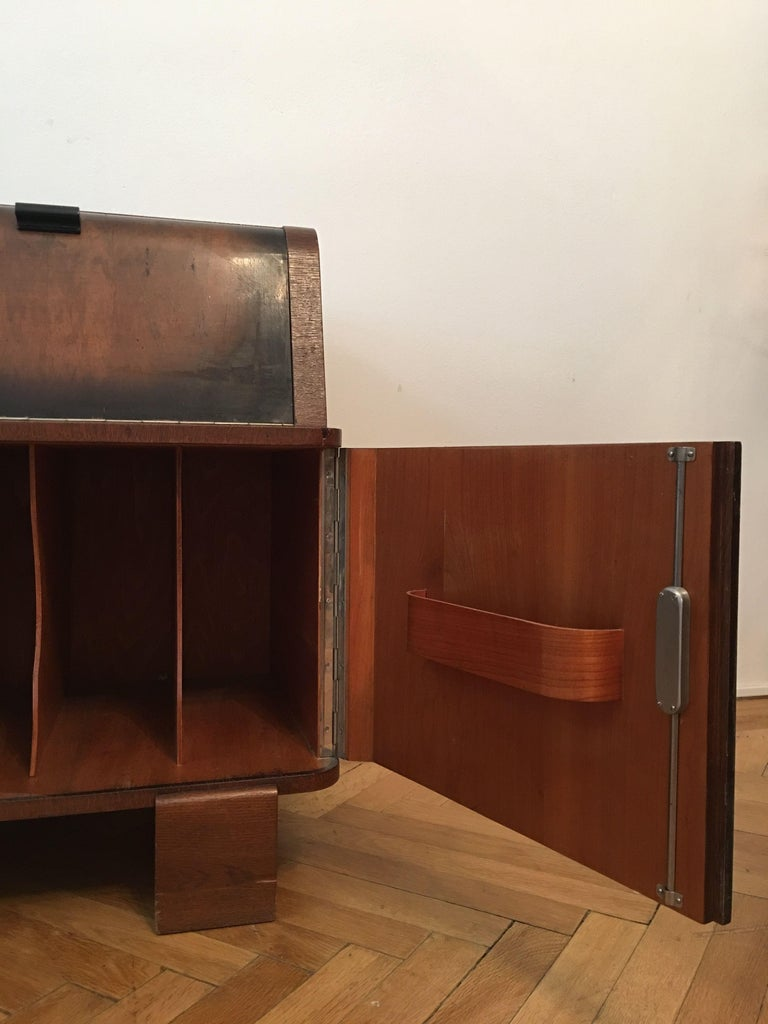 Mid-20th Century Record Player Cabinet by Jindrich Halabala for Up Zavody, Czechoslovakia, 1930s For Sale