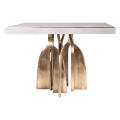 Rectangle Chital Breakfast Table in Cream Shagreen and Brass by Kifu Paris