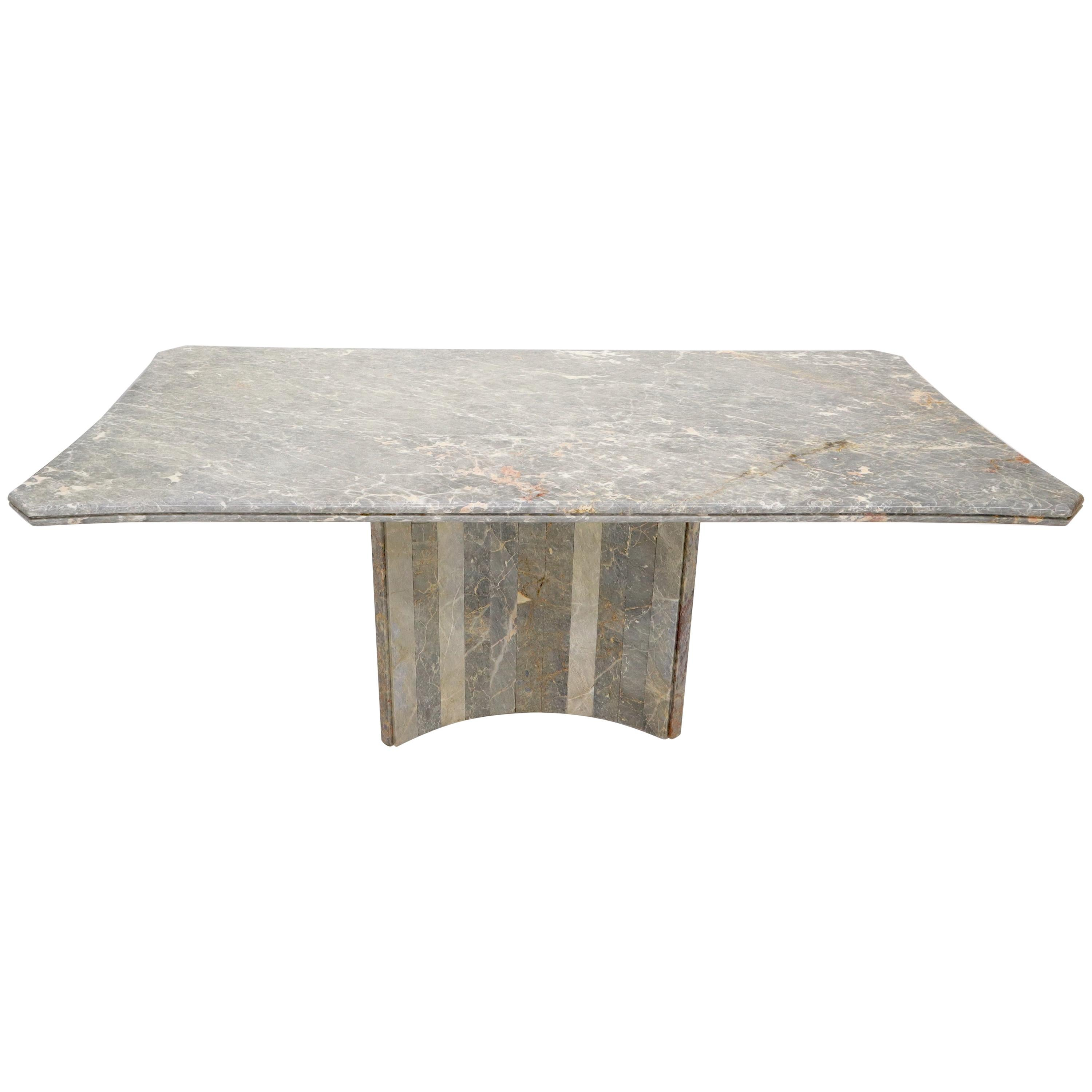 Rectangle Concave Shape Large Marble-Top Single Pedestal Dining Conference Table