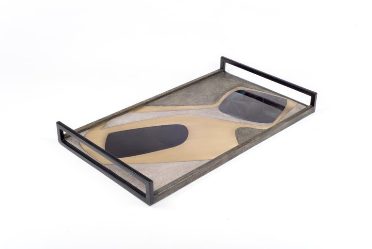 Art Deco Rectangle Cosmos Tray in Black Shagreen, Blue Pen Shell & Brass by R&Y Augousti For Sale