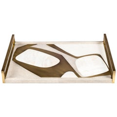 Rectangle Cosmos Tray in Cream Shagreen, Shell and Brass by R&Y Augousti