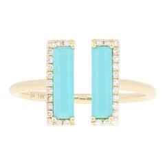 Rectangle Cut Turquoise and Diamond Open Ring, 14 Karat Yellow Gold Modern