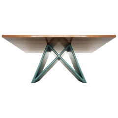 Rectangle Dining Table with Solid Walnut Top and X Base, Customizable
