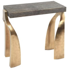 Rectangle Galaxy Side Table in Black Shagreen, Bronze-Patina Brass by Kifu Paris