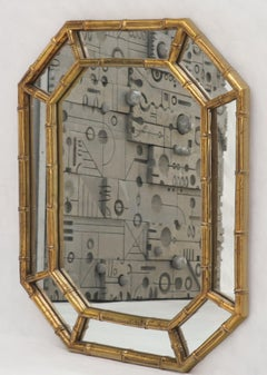 Rectangle Hexagon Shape Gold Finish Gilt Faux Bamboo Wall Mirror