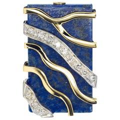 Rectangle Lapis Diamond Two-Tone Gold Cocktail Ring