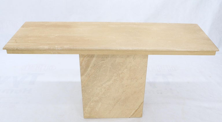 Polished Rectangle Mid-Century Modern Travertine Console Sofa Table For Sale