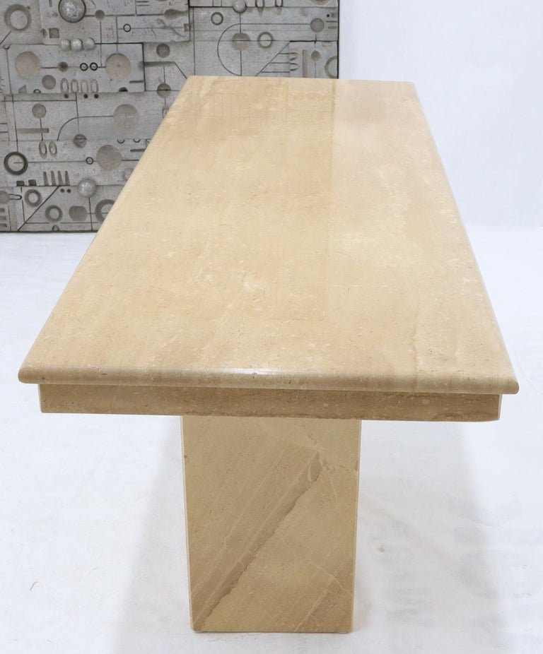 20th Century Rectangle Mid-Century Modern Travertine Console Sofa Table For Sale