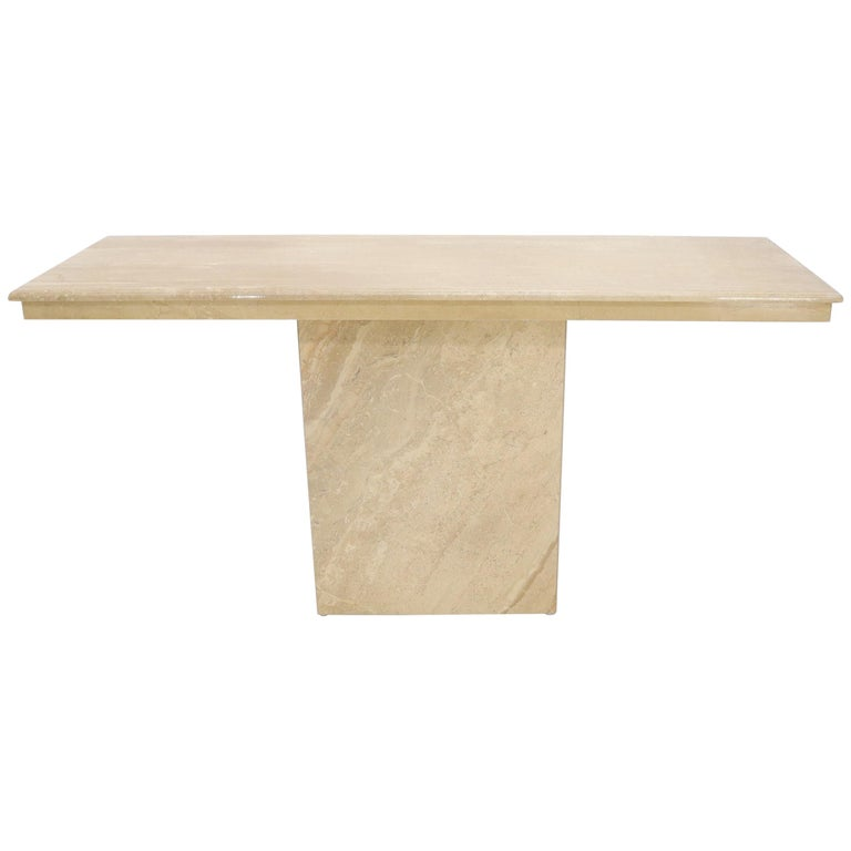 Rectangle Mid-Century Modern Travertine Console Sofa Table For Sale