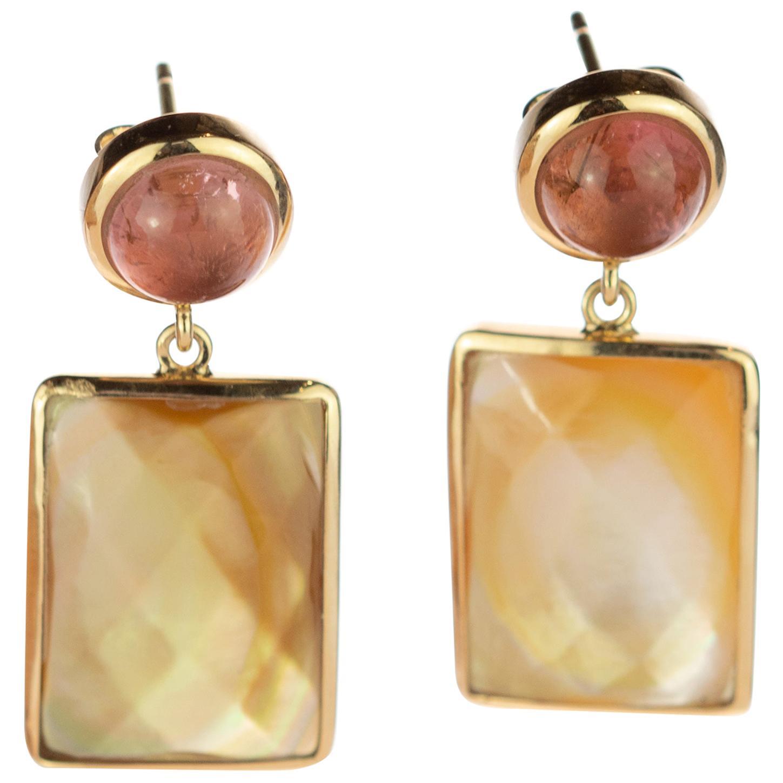 Rectangle Mother of Pearl Tourmaline 18 Karat Gold Drop Handmade Chic Earrings