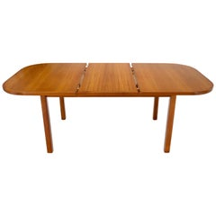 Rectangle Round Corners Teak Midcentury Danish Modern Dining Table Pop Up Leaf