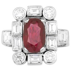 Rectangle Ruby and Diamond Ring
