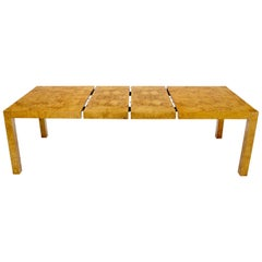 Rectangle Shape Burl Wood Dining Room Table with Two Extension Leaves Boards