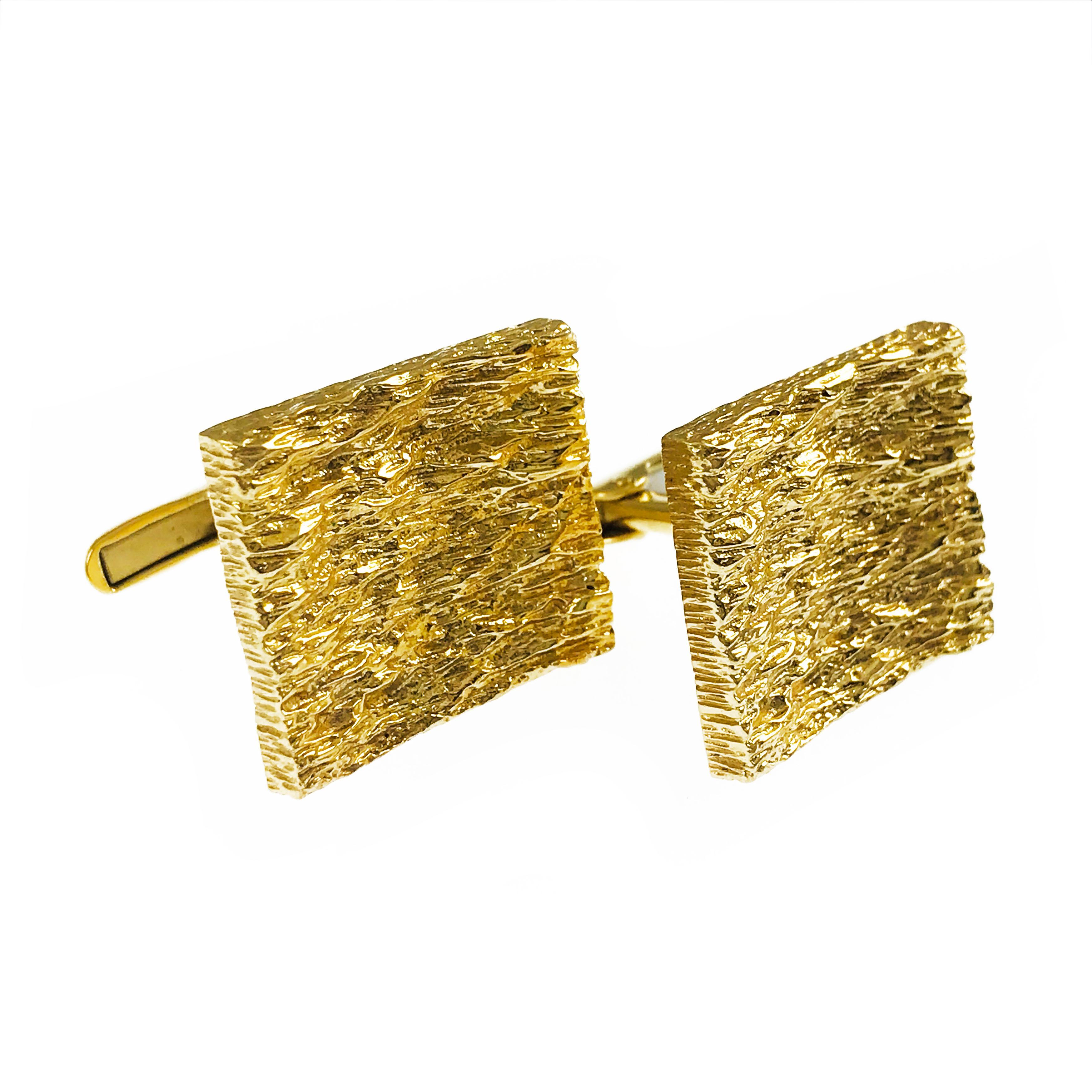 Rectangular 14 Karat Gold Cufflinks