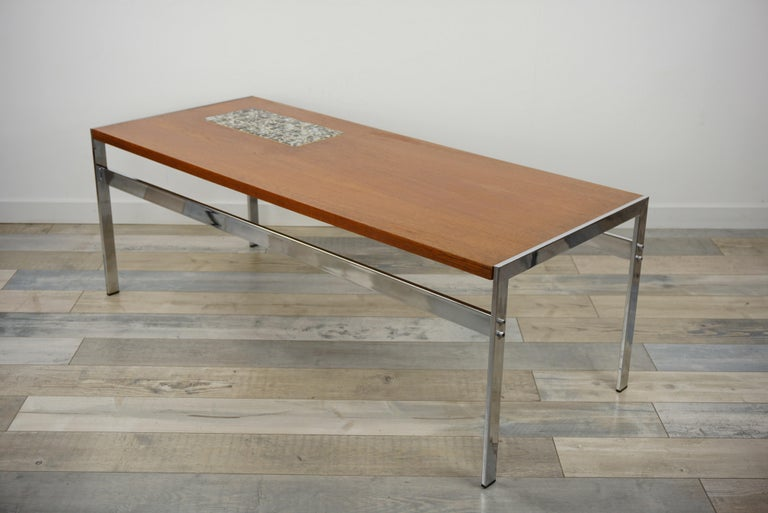 Rectangular 1960s Design Chrome Metal And Teak Wooden Coffee Table  For Sale 5