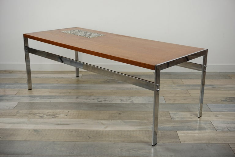 Rectangular 1960s Design Chrome Metal And Teak Wooden Coffee Table  For Sale 6