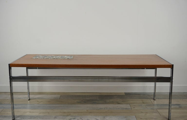 Mid-Century Modern Rectangular 1960s Design Chrome Metal And Teak Wooden Coffee Table  For Sale