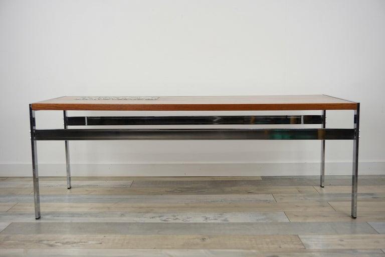 European Rectangular 1960s Design Chrome Metal And Teak Wooden Coffee Table  For Sale