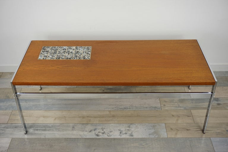 Rectangular 1960s Design Chrome Metal And Teak Wooden Coffee Table  In Good Condition For Sale In Halluin, FR