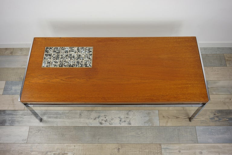 20th Century Rectangular 1960s Design Chrome Metal And Teak Wooden Coffee Table  For Sale