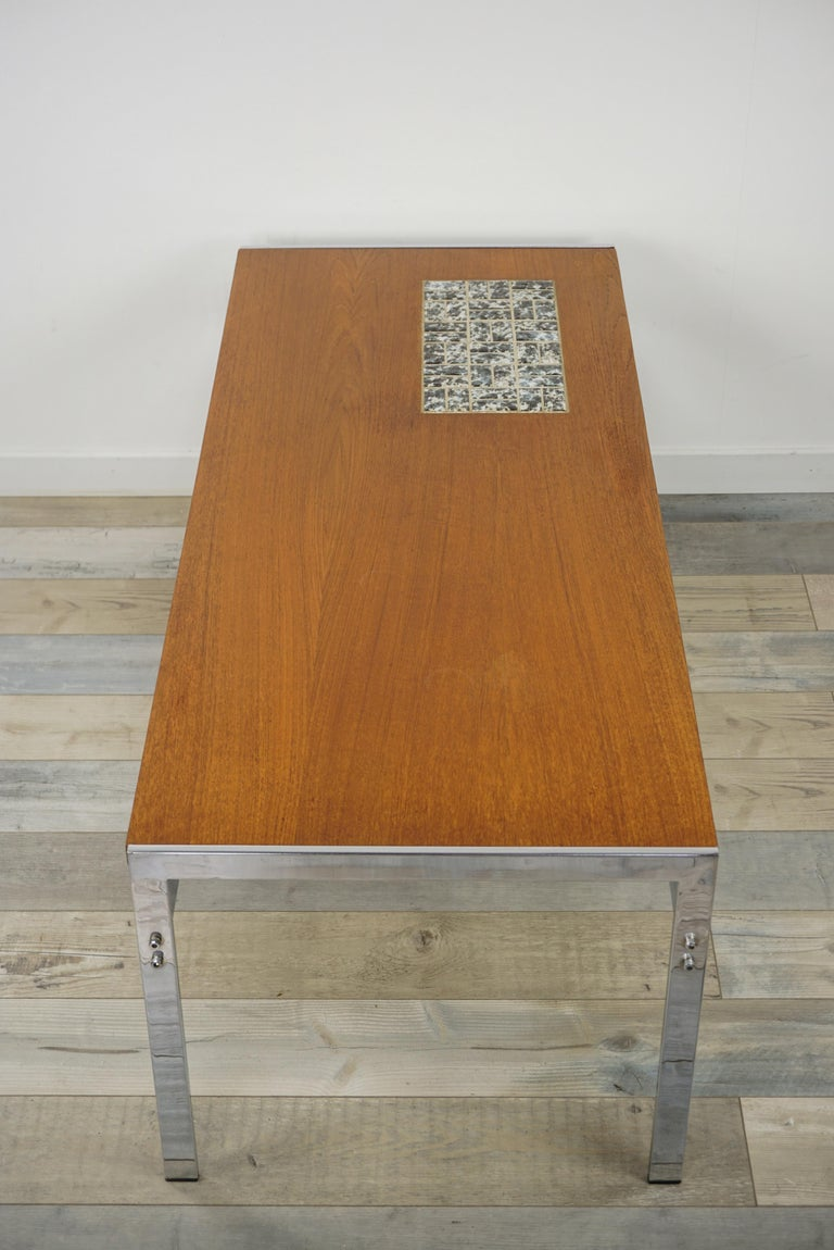 Rectangular 1960s Design Chrome Metal And Teak Wooden Coffee Table  For Sale 1