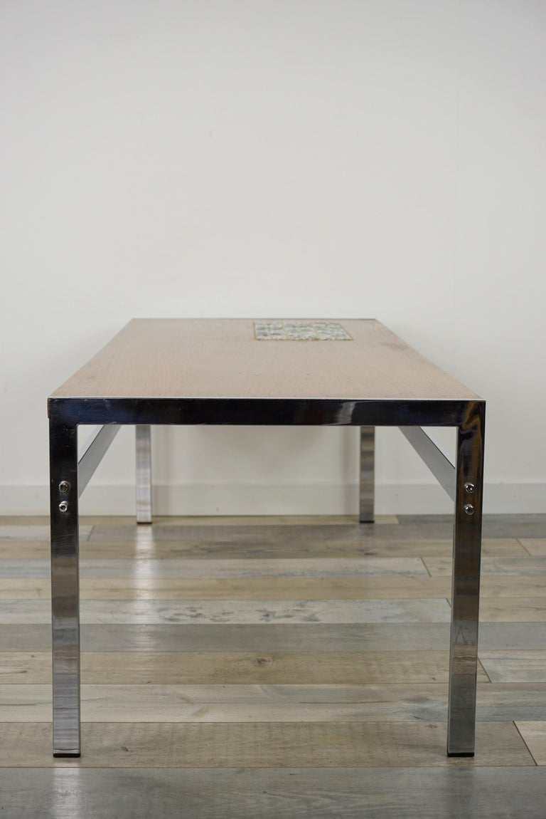 Rectangular 1960s Design Chrome Metal And Teak Wooden Coffee Table  For Sale 2