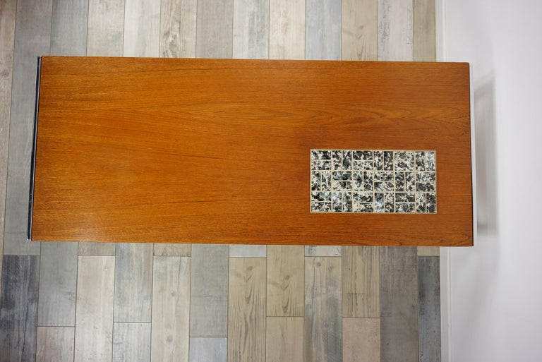Rectangular 1960s Design Chrome Metal And Teak Wooden Coffee Table  For Sale 3