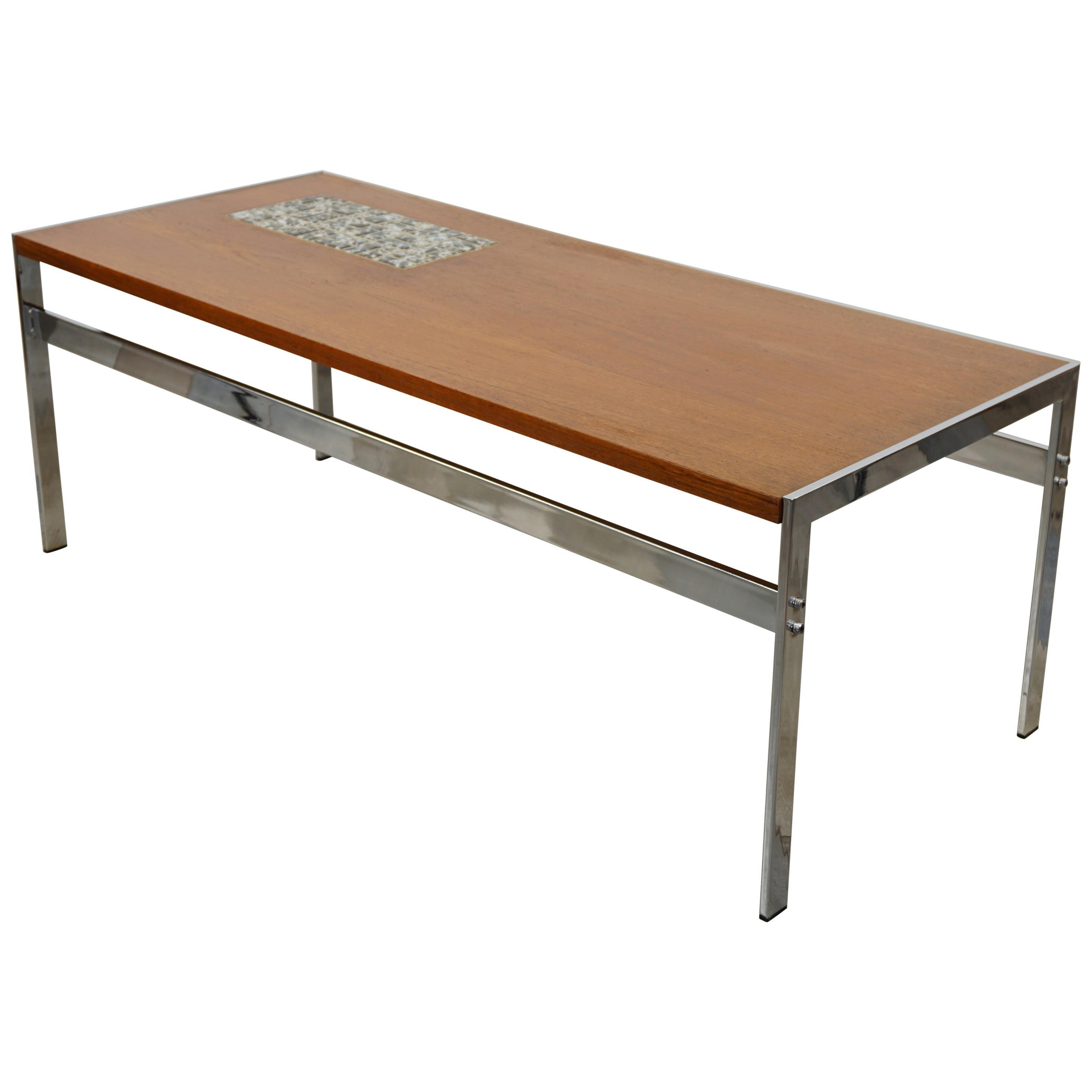 Rectangular 1960s Design Chrome Metal And Teak Wooden Coffee Table