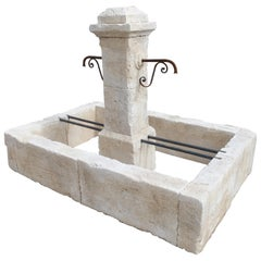Rectangular 2-Spout Limestone Center Fountain from Provence