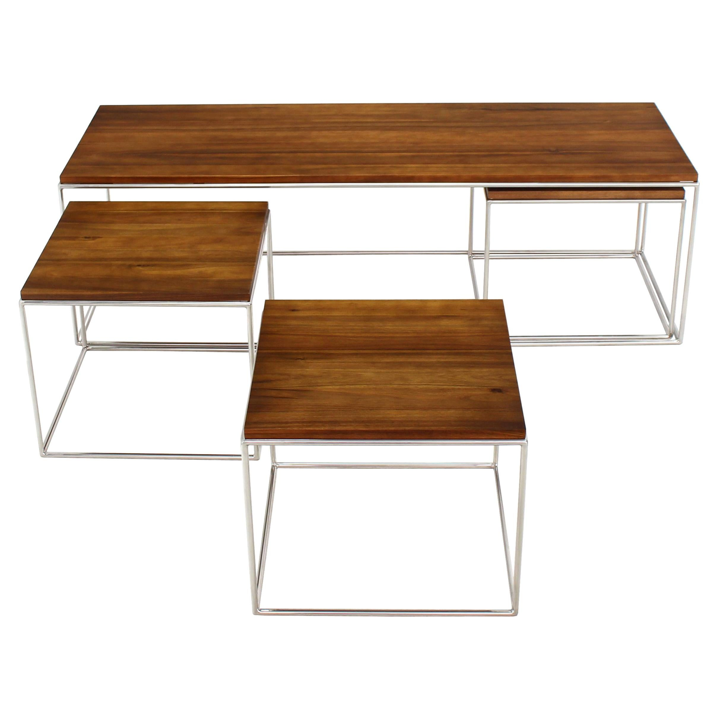 Rectangular 4 Pieces Nesting Solid Stainless Chrome Legs Coffee Table