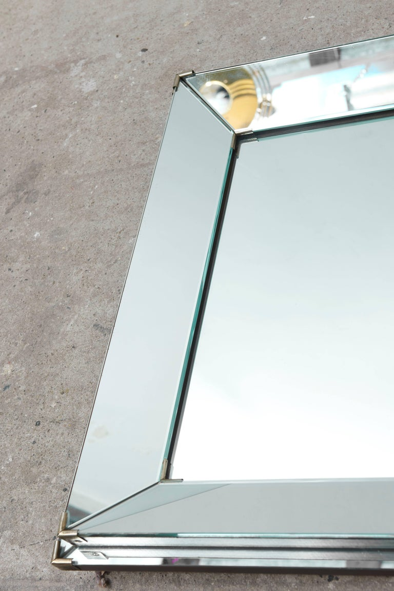 French Rectangular Art Deco Mirror with Two-Banded and Edged Mirror Frame, France 1920s For Sale