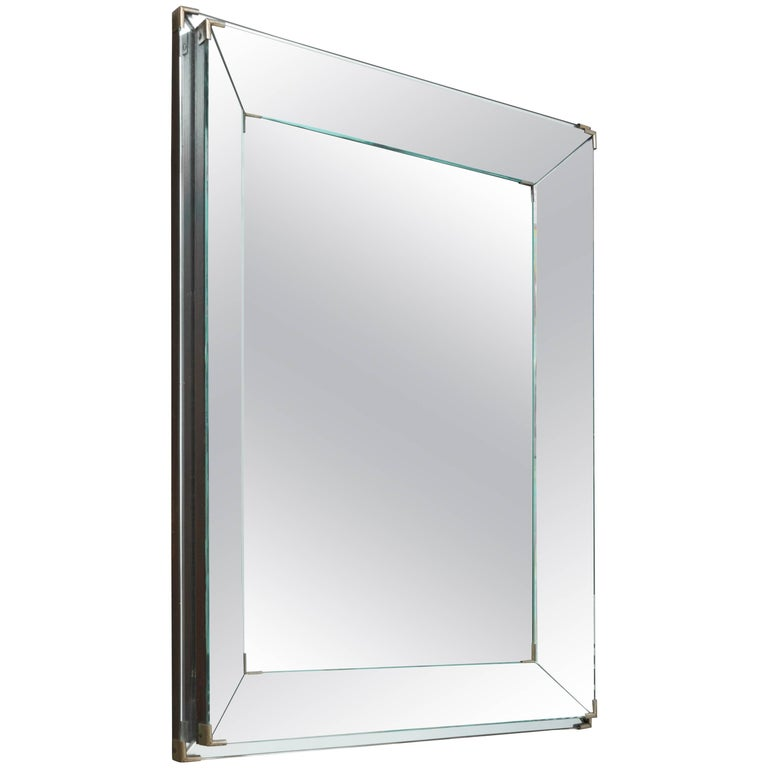 Rectangular Art Deco Mirror with Two-Banded and Edged Mirror Frame, France 1920s For Sale