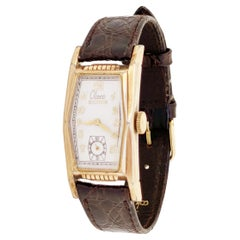 """Rectangular Art Deco Style """"Olsen"""" Watch with Leather Strap by Benrus, 1930s"""