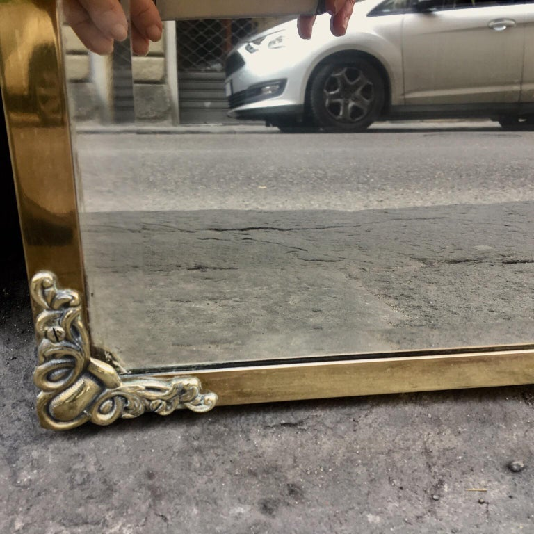Rectangular Art Nouveau Mirror with Brass Frame and Friezes, Early 1900 For Sale 9