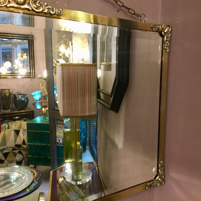 Rectangular Art Nouveau Mirror with Brass Frame and Friezes, Early 1900 In Good Condition For Sale In Florence, IT