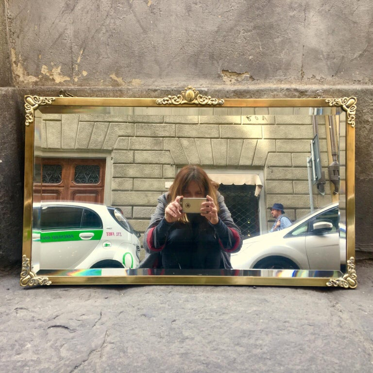20th Century Rectangular Art Nouveau Mirror with Brass Frame and Friezes, Early 1900 For Sale