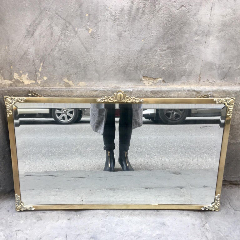 Rectangular Art Nouveau Mirror with Brass Frame and Friezes, Early 1900 For Sale 1
