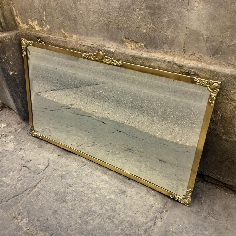Rectangular Art Nouveau Mirror with Brass Frame and Friezes, Early 1900 For Sale 2