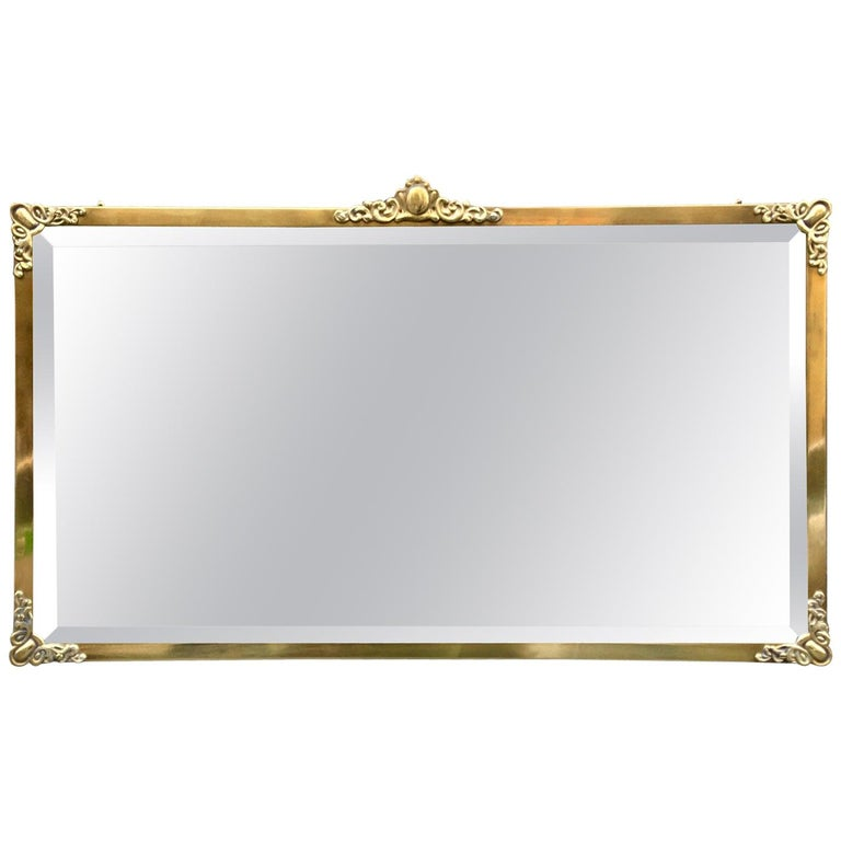 Rectangular Art Nouveau Mirror with Brass Frame and Friezes, Early 1900 For Sale