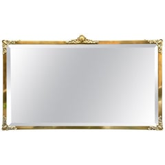 Rectangular Art Nouveau Mirror with Brass Frame and Friezes, Early 1900