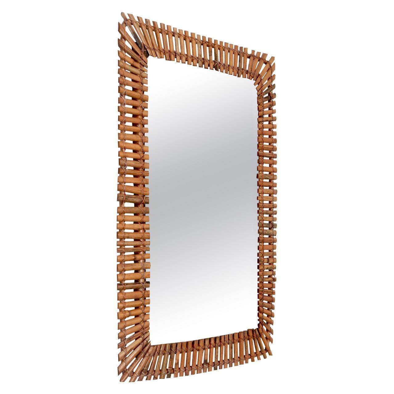 Rectangular Bamboo/Rattan Frame Mirror, Italy, 1950s