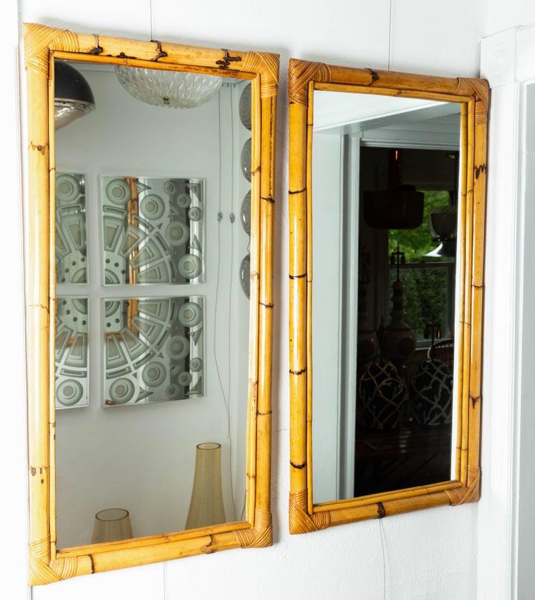 Rectangular bamboo surround mirror.