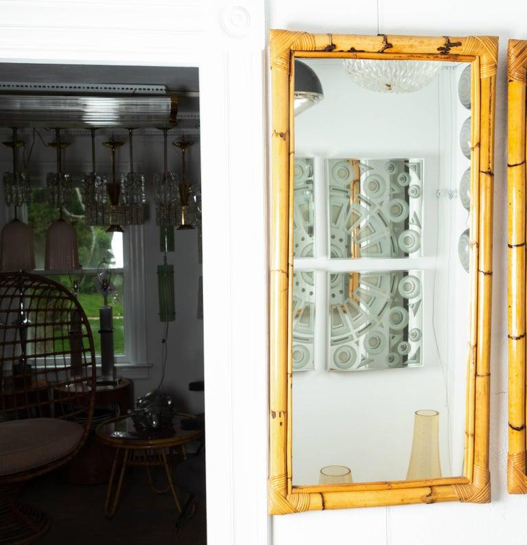 Mid-Century Modern Rectangular Bamboo Surround Mirror For Sale