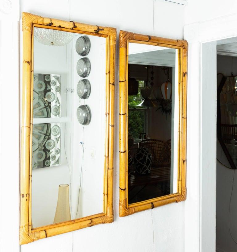 Italian Rectangular Bamboo Surround Mirror For Sale