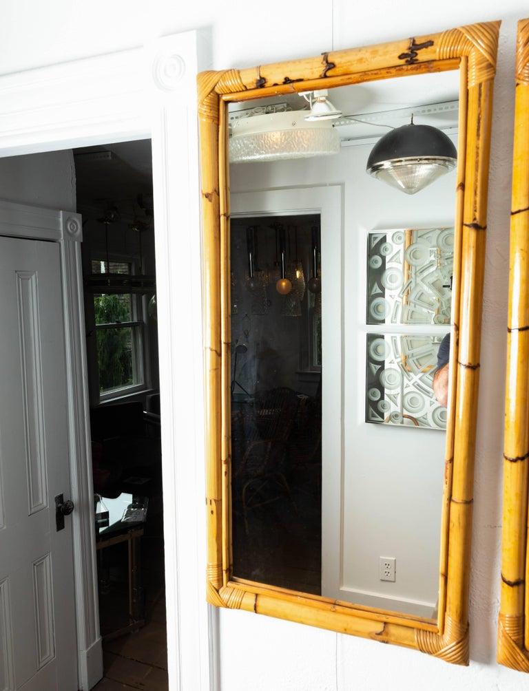 Rectangular Bamboo Surround Mirror In Good Condition For Sale In Bridgehampton, NY