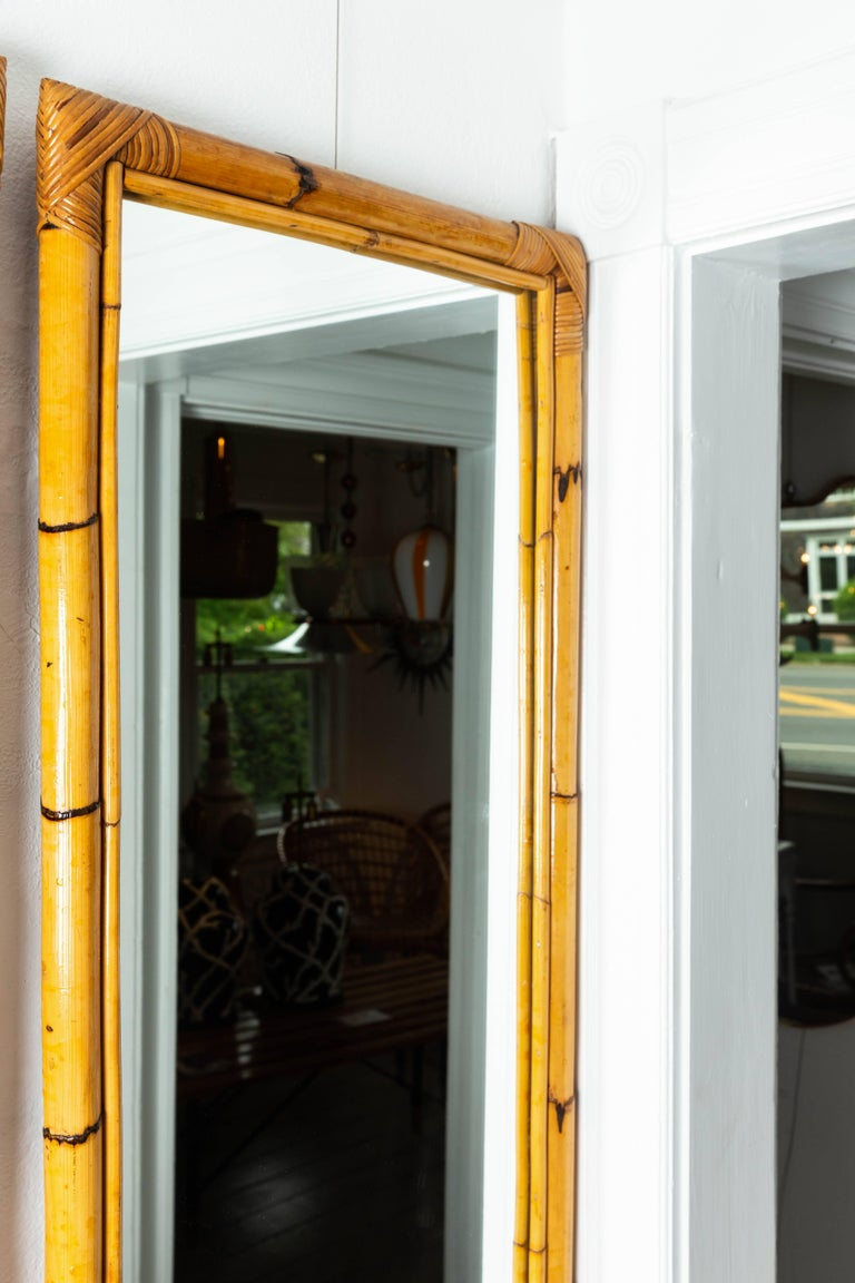 Rectangular Bamboo Surround Mirror For Sale 1