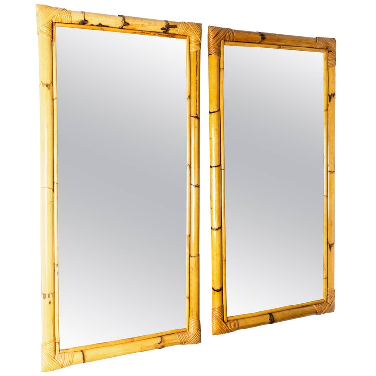 Rectangular Bamboo Surround Mirror For Sale