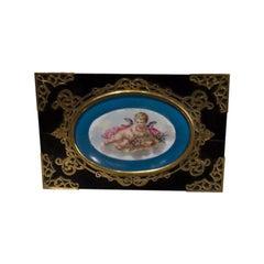 Rectangular Black Lacquered Wood Porcelain Desk Box Envelope Holder Ink Well